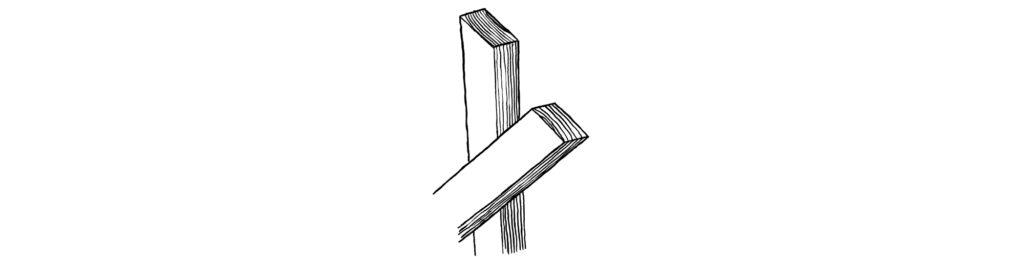 筋違い材は木面同士を合わせる
