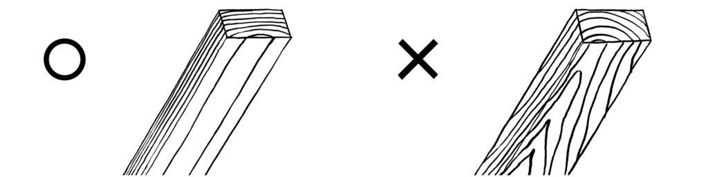 筋違いには柾目材を使う